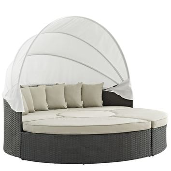 Sojourn Outdoor Patio Sunbrella® Daybed Antique Canvas Beige EEI-1986-CHC-BEI-