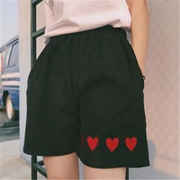 Embroidered Hearts Shorts