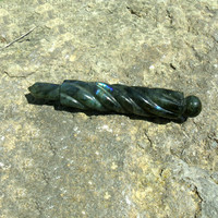 Labradorite Massage Wand Tool Carved Metaphysical Stone Healing Crystal Gem Mineral New Age Reiki Wicca Wiccan