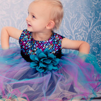 Girls Teal Sequined Party Dress with Colorful Tulle Layers 3m-24m