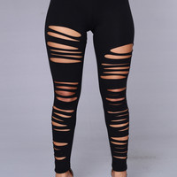 Black Ripped Leggings - Black