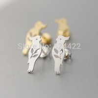 10pc/lot Free shipping  Gold and Silver Plated Parrot Stud Earrings for Women Animal Earrings Female Small Earring Studs ED070