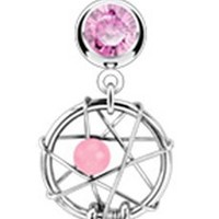 Dream Catcher Gem & Feathers Navel Ring Fancy Style Belly Button Piercing Jewelry w/Pink CZ Stones