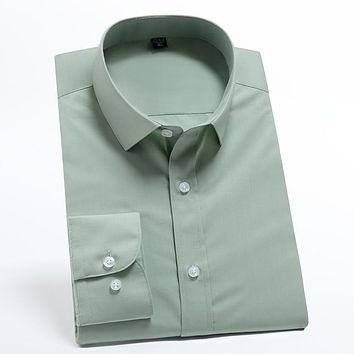 Men's Casual Standard-fit Basic Dress Shirts Good Quality Solid Formal Social Long-sleeve Easy Care Office Shirt (No Pocket)