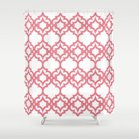Lattice Stars in Coral Shower Curtain by House of Jennifer