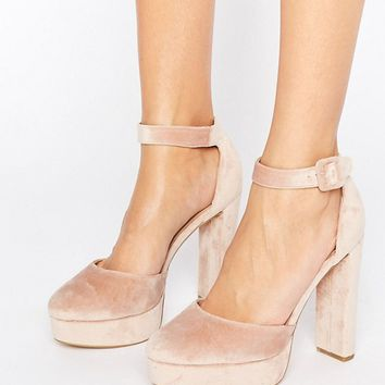 New Look Velvet Two Part Platform Heeled Shoes at asos.com