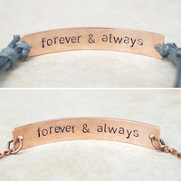 Forever and Always Bracelets, His and Hers Bracelets, Engraved Bracelet, Hidden Message Matching Bracelets, Best Friend bracelets, Couples