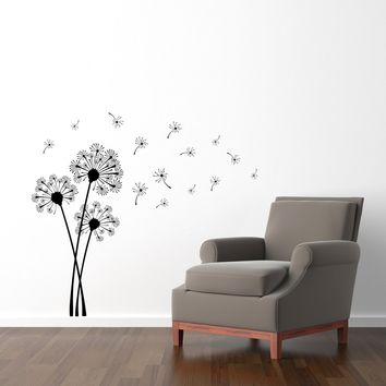 Dandelion Wall Decal - Dandelion Seeds Blowing in the wind - Flower Wall Decor - Medium