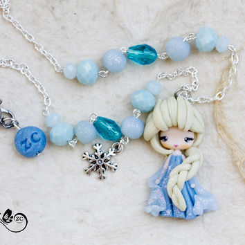 polymer clay necklace / Elsa / disney / princess / clay / frozen