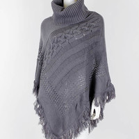 Grey Knit Turtleneck Fringe Poncho