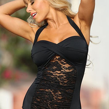 UjENA Le Lace Long Torso 1-PC D100 Twist front Wide Halter Straps Ties at the neck One Pieces Swimwear Women's Swimsuit