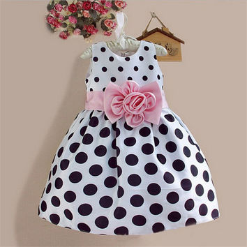 2016 New Cute Baby Girl Flower Dress Girls Toddler Dot Birthday Kids Formal Dress Layered Princess Party Bow Dress