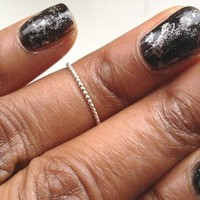 Above Knuckle Ring Beaded Dot Sterling Silver Midi Ring from azteclovers