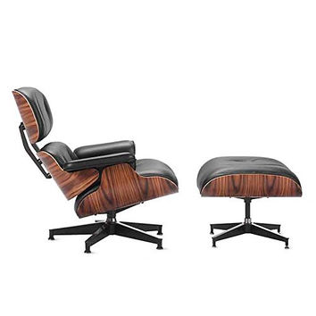Mid Century Plywood Lounge Chair & Ottoman - Black Aniline Leather