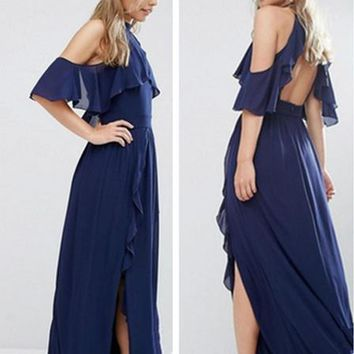 Fashion Solid Color Backless Frills Ruffle Strapless Short Sleeve Chiffon Maxi Dress