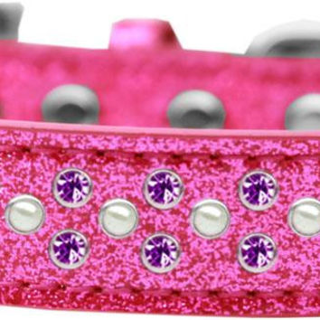 Sprinkles Ice Cream Dog Collar Pearl and Purple Crystals Size 20 Pink