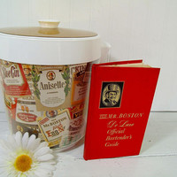 Ice Bucket Old Mr. Boston Thermo-Serve by West Bend with Old Mr. Boston DeLuxe Official Bartenders Guide - Vintage Large Ice Bin & Book Set