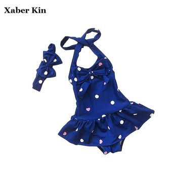 Xaber Kin Swimsuit Children's One-Piece Bathing Suits Swimsuit For Girl Lovely Girls Swimwear Clothes K2-CGR1