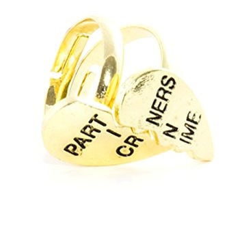Partners in Crime Rings Set Gold Tone Split Heart BFF Best Friends RL32 Statement Fashion Jewelry