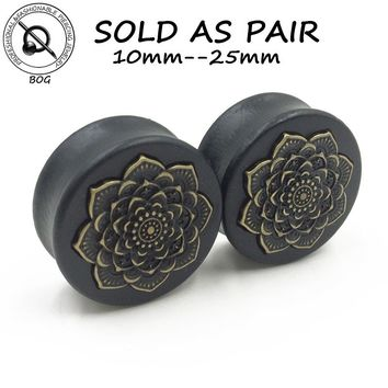 BOG-1 Pair Black Natural Wood Double Flared Ear Tunnel Plug Expanders Earlet Gauges With Mandala Flower Body Piercing Jewelry