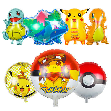 1PCS 18inch Anime Cartoon Pikachu & Bulbasaur & Pokeball Squirtle & Charmander Classic Toys Christmas Party Decoration Balloons