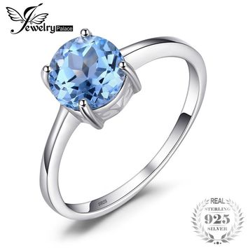 JewelryPalace Round 1.6ct Natural Sky Blue Topaz Birthstone Solitaire Ring Genuine 925 Sterling Silver Jewelry  for Women