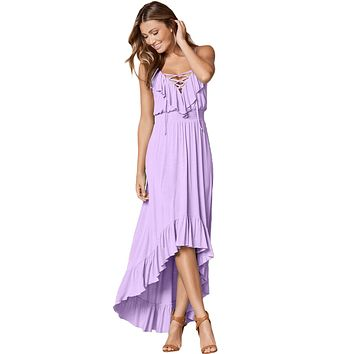 Lilac Lace Up V Neck Ruffle Trim Hi-low Maxi Dress
