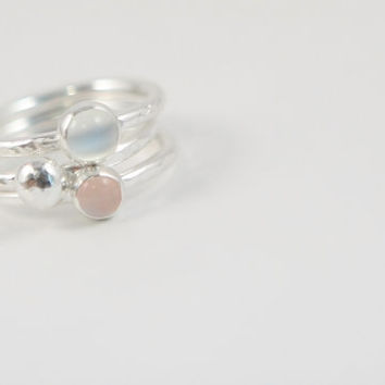 Gemstone Stackable Ring Moonstone Rose Quartz Stacking Rings  Gem Stones Mom Jewelry Handmade Trendy Jewelry Recycled Silver Eco Friendly