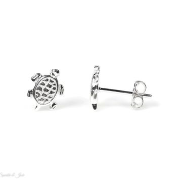 .925 Sterling Silver Turtle Stud Earrings