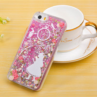Pink Rose Glitter Alice Case with Cascading Confetti  for iPhone 5 5s SE 6 6s Plus