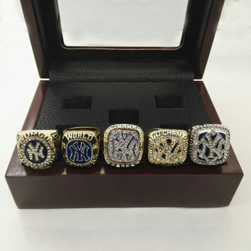 Factory Direct Sale MLB 1996 1998 1999 2000 2009 New York World Series Yankees Championship ring 5 together With Wooden Boxes