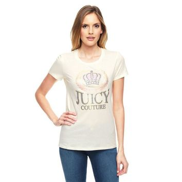 Juicy Couture Glitter Crown Graphic Tee T010 Women T-shirt White