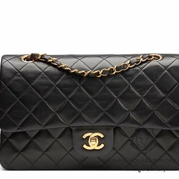 CHANEL BLACK QUILTED 2.55 LAMBSKIN VINTAGE MEDIUM CLASSIC DOUBLE FLAP BAG GHW 06