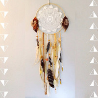 Sweet Adeline Dreamcatcher with vintage lace, gold leaves and striped feathers - free shipping