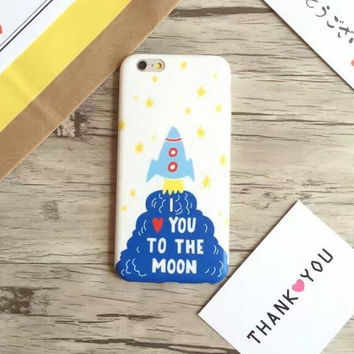 "Cute ""I Love you to the moon "" phone  case for iPhone 7 7plus 6 6S 6plus 6Splus 1107JM01"