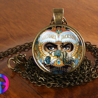 Michael Jackson Dangerous Handmade Necklace Jewelry Glass Photo Fan Art Gift (2)