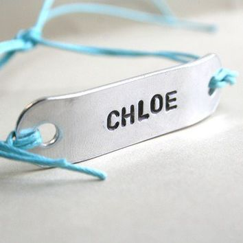 Friendship Bracelet Custom ONE Hand Stamped Jewelry WIDE Name Tie On Hemp Cord BFF