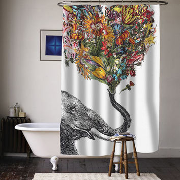 elephant flower art special custom shower curtains available size