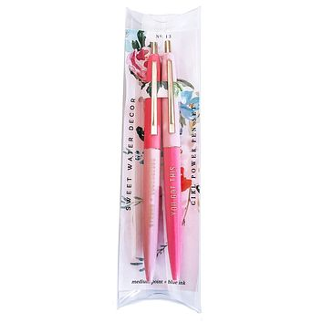 You Got This and Strong + Courageous Girl Power Pen Set in Pink