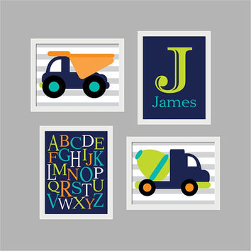 CONSTRUCTION Vehicles  Wall Art Print, DUMP TRUCK - Choose Size - Nursery, Bathroom, Baby Boy's Room, Playroom
