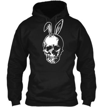 Happy Easter Skull with Bunny Ears Ironic Shirt Pullover Hoodie 8 oz