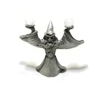 Wizard Pewter Figure Crystal Balls Red Eyes CMR 588 1987 Spoontiques Fantasy Gothic Decor
