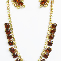 Amber Demi Parure Prom Wedding Crystal Rhinestones Rootbeer Necklace Earrings Gift