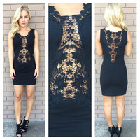 Little Black Crochet Dress