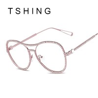 TSHING 2017 New Women Diamond Glasses Frame Female Fashion Brand Design Eyewear Frame Optical Glasses for Ladies