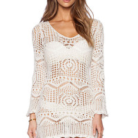 White Long Sleeved Crochet Beach Dress