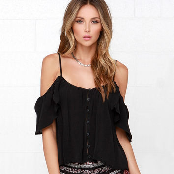 Strap Off-Shoulder Asymmetrical Top
