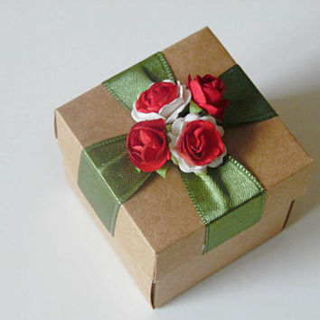 10 rustic kraft favor box with paper flowers, wedding, bridal shower, bridesmaids, baby shower, tea party gift box