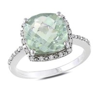 10mm Cushion-Cut Green Quartz and 1/10 CT. T.W. Diamond Ring in Sterling Silver