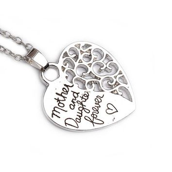 """""""Mother and Daughter Forever"""" Heart Pendant Necklace for Women"""